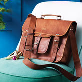 Vintage Style Leather Satchel - accessories