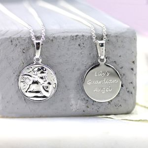 Personalised Silver Guardian Angel Pendant - jewellery gifts for children