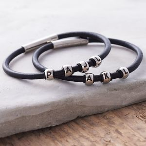 Personalised Men's Leather Bracelet - bracelets