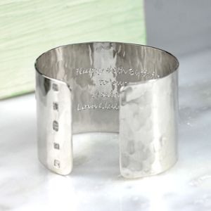 Handmade Hammered Personalised Cuff Bangle - for your other half
