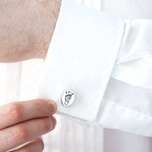 Personalised Double Hand And Foot Print Cufflinks