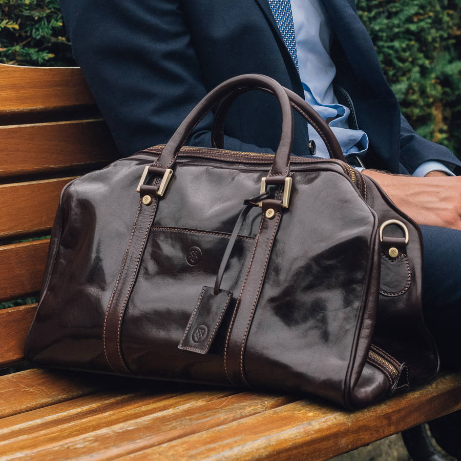 ef475a53c8ea small luxury leather holdall.  the flero small  by maxwell scott ...