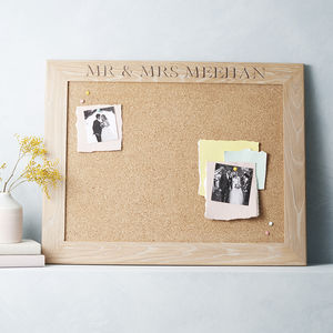 Personalised White Oiled Oak Cork Or Chalk Notice Board