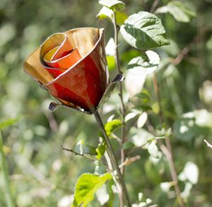 Rose Handmade Recycled Metal Garden Sculpture - art & decorations