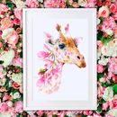 Giraffe Wildlife Botanical Fine Art Print