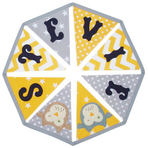 Personalised Children's Bunting: Yellow, Grey And Navy
