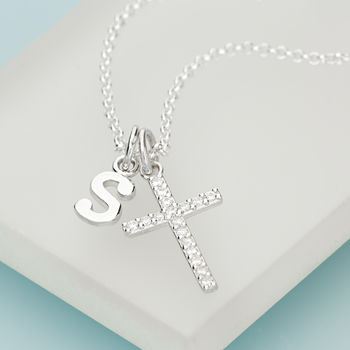 Crystal Cross Necklace with Silver Initial Charm by Lily Charmed