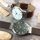 Gents Brancaster Watch With Leather Strap By O.W.L