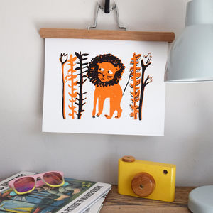 'Mane Man' Lion Illustrated Children's Print - children's pictures & paintings