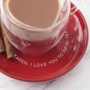 Personalised Heart Shaped Mug And Saucer