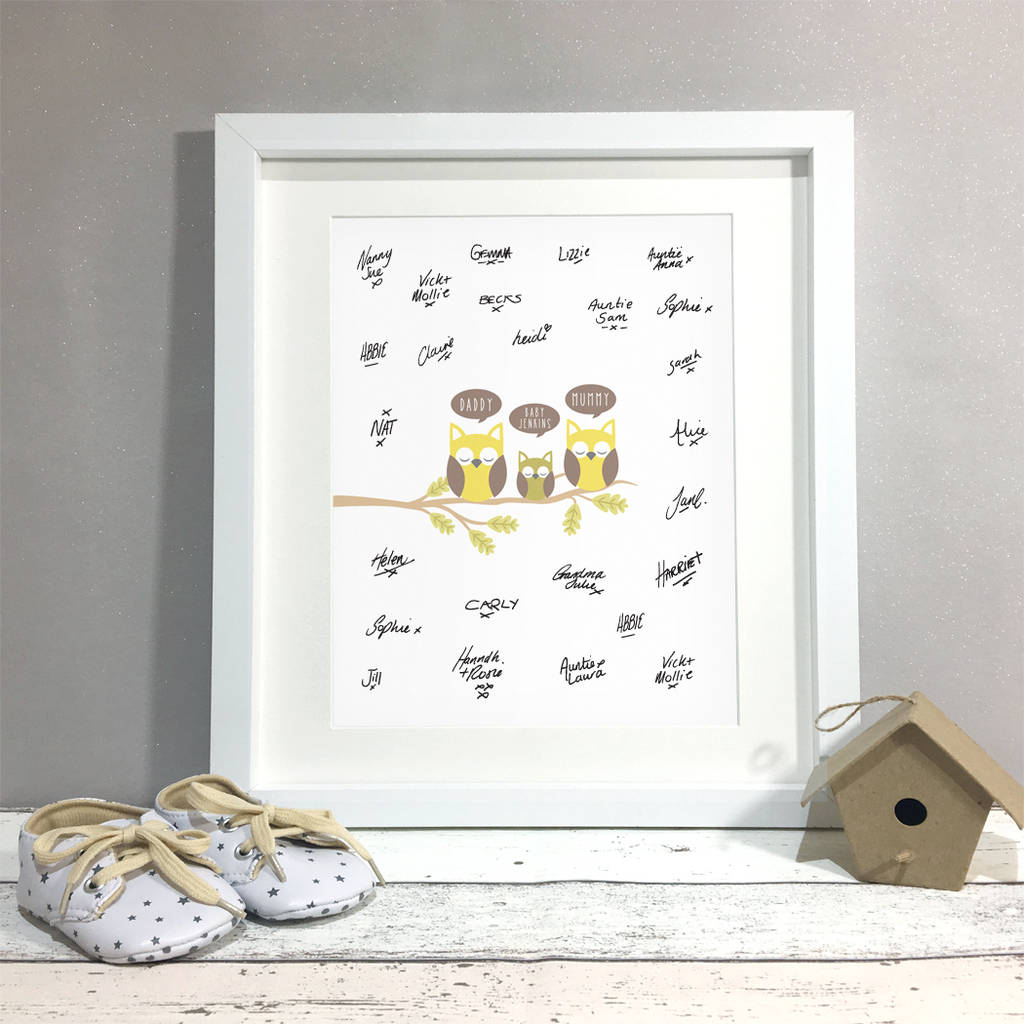 Personalised Owl Baby Shower Guest Book Print