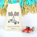 Wooden Red Race Car With Personalised Bag