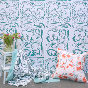 Floral Screen Printed Wallpaper Rosehip And Poppy Print
