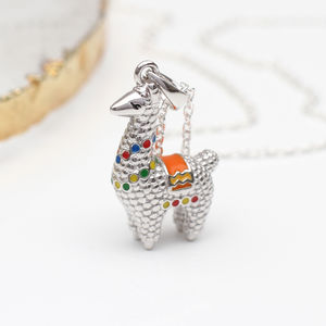 Personalised Sterling Silver And Enamel Llama Necklace