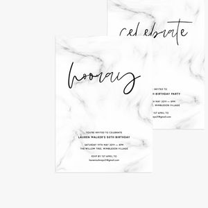 20 Brush Marble Personalised Birthday Party Invitations