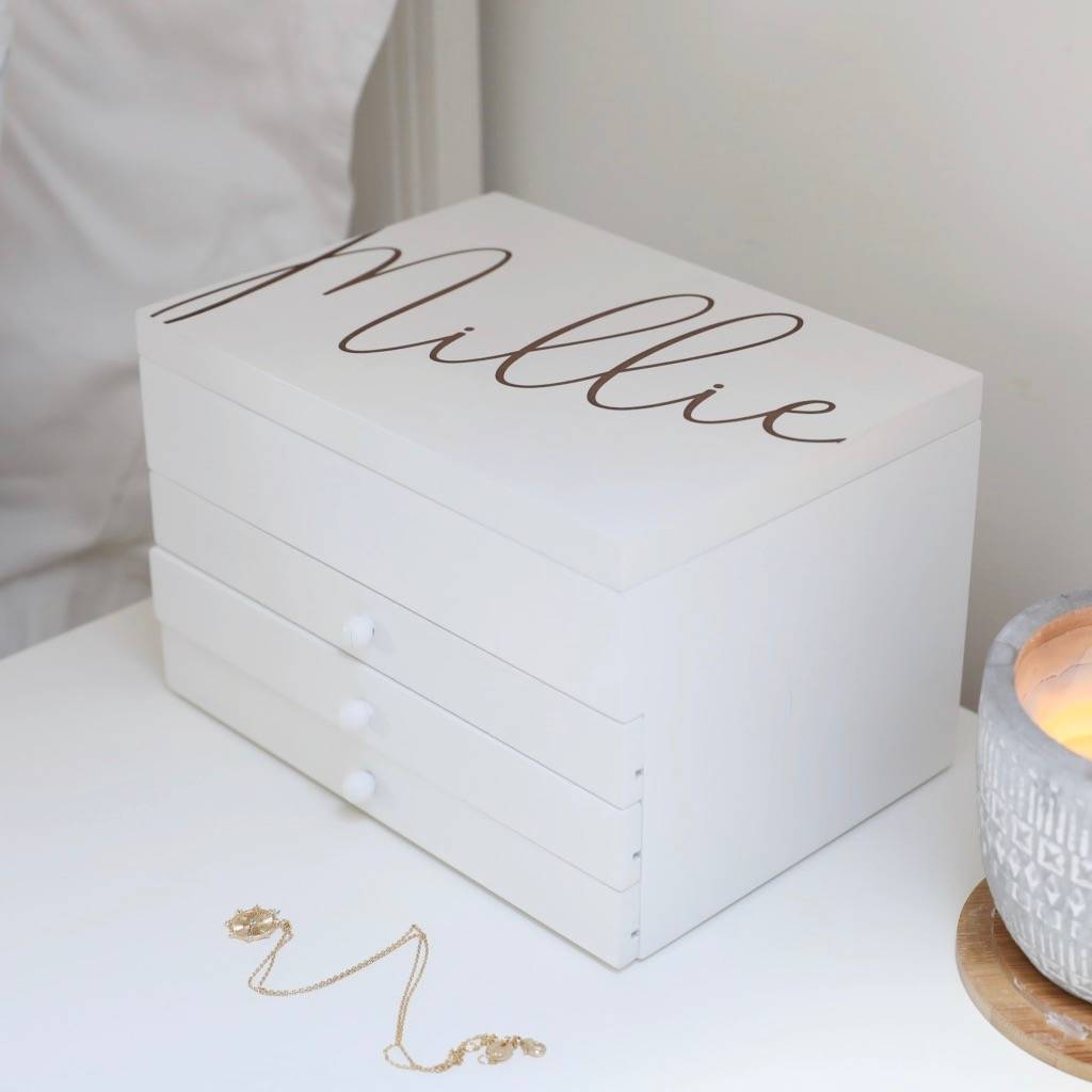Personalised Jewellery Box With Drawers In White