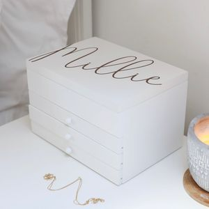 Personalised Jewellery Box With Drawers In White - jewellery storage & trinket boxes