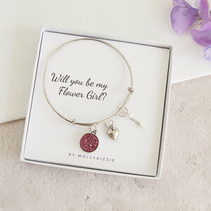 Personalised Will You Be My Flower Girl Bangle