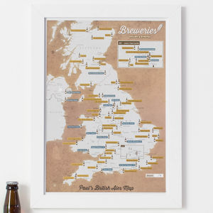 Personalised Scratch Off UK Breweries Print - summer sale