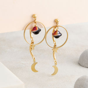 Moon, Star And Planet Front And Back Earrings