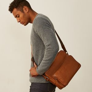 Italian Full Grain Leather Messenger Bag 'Santino M'