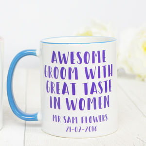 Personalised 'Awesome' Groom Mug - gifts for the groom