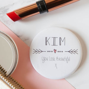 Personalised Heart And Arrow Big Badge Or Mirror - wedding favours