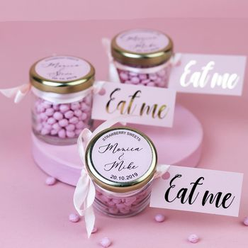 Personalised Wedding Favour Sweet Jars With Pink Candy
