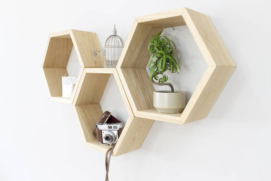 hexagon wall shelves set of three by bespoak interiors. Black Bedroom Furniture Sets. Home Design Ideas