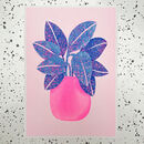 'Blue Plant In Pink Pot' Risograph Print