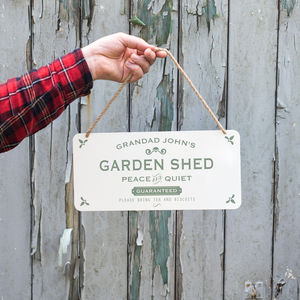Personalised Hanging Metal Garden Shed Sign - gardener