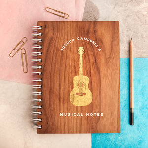 Personalised 'Musical Notes' Gold Walnut Notebook - planning & organising