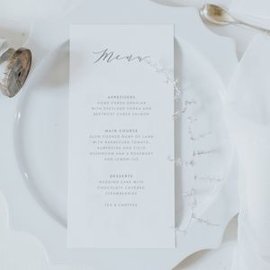 Emily Menu Card - winter wedding styling