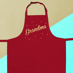 Personalised Grandma Sparkly Apron - kitchen linen