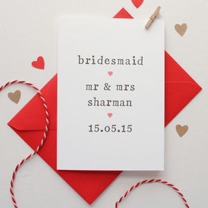Personalised Bridesmaid Card - thank you cards