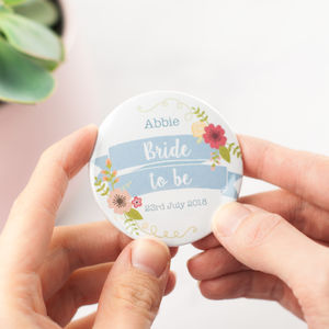 Personalised Blue Floral Bridal Party Mirror - wedding favours