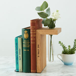 Solid Oak Personalised Bookend - vases