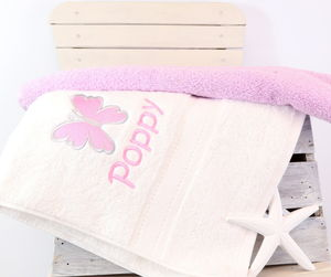 Girl's Personalised Butterfly Bath Towel - bathroom