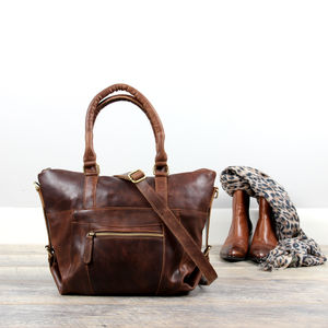 Leather Zip Pocket Handbag