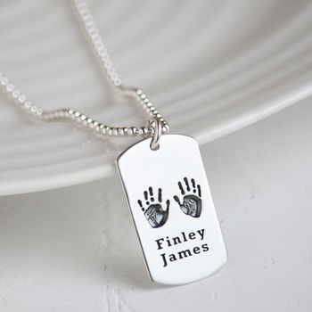Men's Handprint Footprint Tag Necklace For Dad
