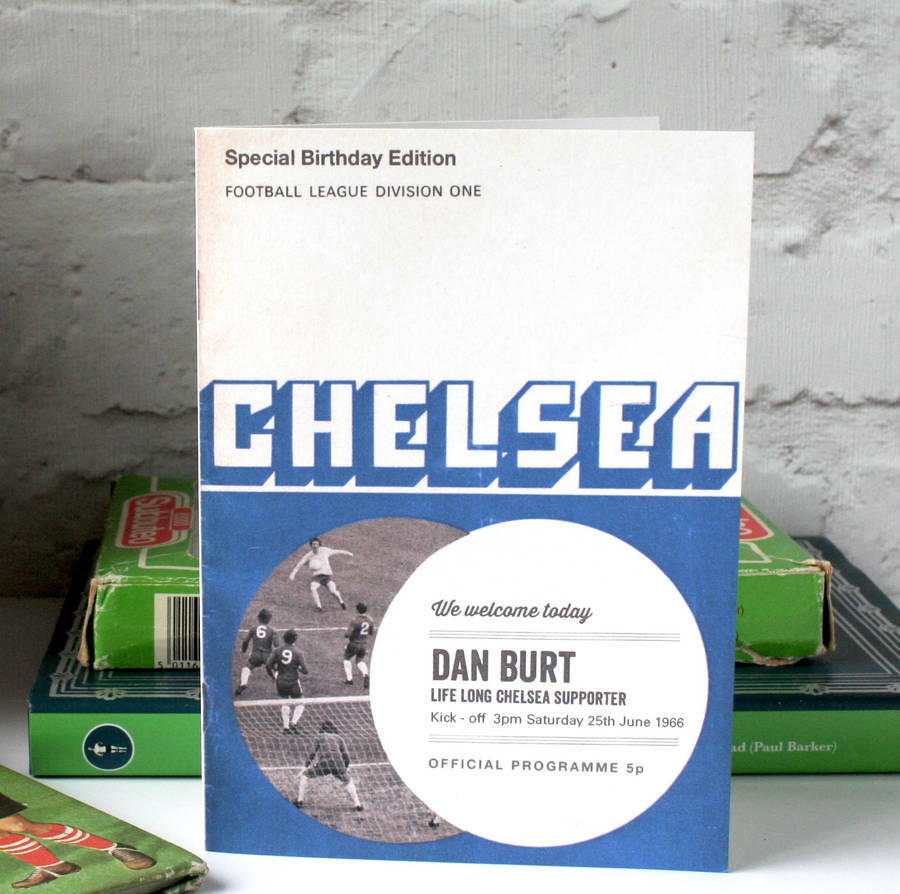 Personalised Football Programme Birthday Card By The Design