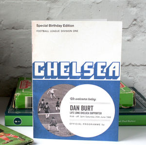 Personalised Football Programme Birthday Card - birthday cards