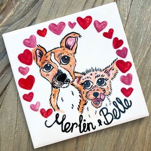 Pet Portrait Dog/Cat Ceramic Tile With Border - paintings
