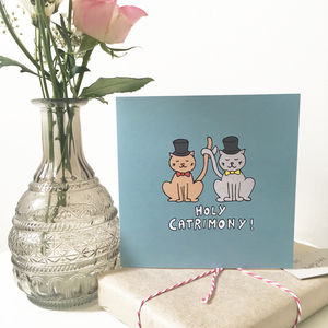 Groom And Groom Wedding Card For Cat Lovers