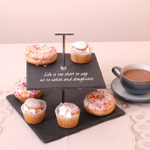 Personalised Two Tier Square Slate Cake Stand