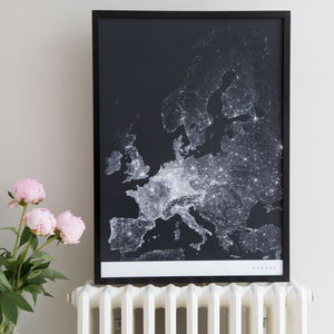 Europe Roads And Paths Contemporary Map Print - maps & locations