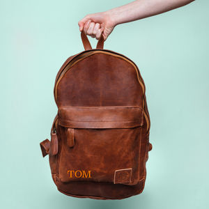 Personalised Leather Classic Backpack/Rucksack - gifts for teenage boys