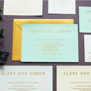 Mint Green And Gold Foil Wedding Invitation Invite