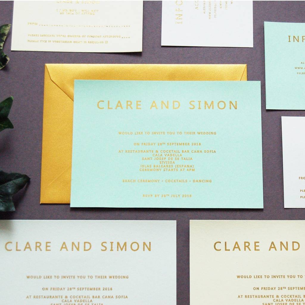 Mint Green And Gold Foil Wedding Invitation Invite By The Luxe Co