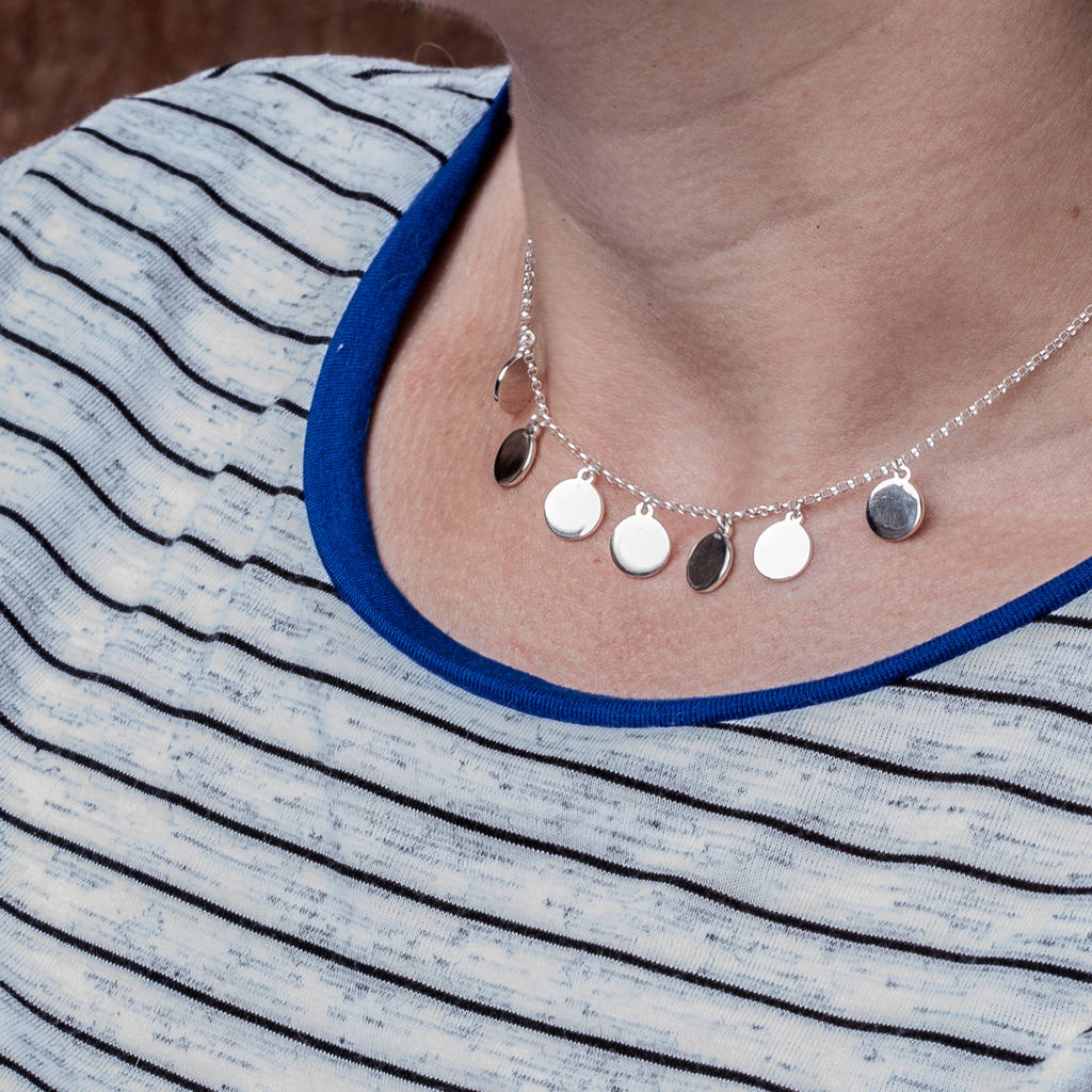 Sterling Silver Disc Drop Necklace